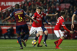 January 20, 2018 - Lisbon, Portugal - Benfica's forward Jonas  (C) shoots the ball to score his side's first goal during Primeira Liga 2017/18 match between SL Benfica vs GD Chaves, in Lisbon, on January 20, 2018. (Credit Image: © Carlos Palma/NurPhoto via ZUMA Press)