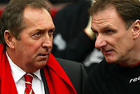 Liverpool's manager Gérard Houllier and assistant Phil Thompson against Manchester United during the Premiership match at Old Trafford, Manchester, Saturday, March 5th, 2003.<br /><br />Pic by David Rawcliffe/Propaganda<br /><br />Any problems call David Rawcliffe +44(0)7973 14 2020 david@propaganda-photo.com http://www.propaganda-photo.com