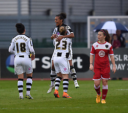 Notts County Ladies FC's Fern Whelan celebrates her goal with captain Laura Bassett - Photo mandatory by-line: Paul Knight/JMP - Mobile: 07966 386802 - 25/04/2015 - SPORT - Football - Bristol - Stoke Gifford Stadium - Bristol Academy Women v Notts County Ladies FC - FA Women's Super League