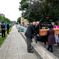 Thelma's funeral procession;<br /> Broadway Market Lock to The Barge Hse;<br /> Hackney canal, London. N1 5RY.<br /> 14th July 2020.<br /> <br /> © Pete Jones<br /> pete@pjproductions.co.uk