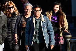 © Licensed to London News Pictures. 17/01/2017. London, UK. SITA BALANI (centre in glasses), joined by supporters as she arrives at Willesden Magistrates Court in west London where she is one of nine people charged with wilfully obstructing the highway at Heathrow Airport. A group of protesters supporting the Black Lives Matter group blocked the M4 spur road to Heathrow Airport in August last year. Photo credit: Ben Cawthra/LNP