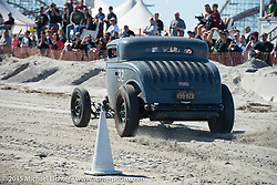 Ken Schmidt racing his 1933 Ford three window coupe down the beaach at the Race of Gentlemen. Wildwood, NJ, USA. October 11, 2015.  Photography ©2015 Michael Lichter.