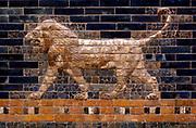 Ishtar Gates, Babylon plus details showing palms, lions and animals.