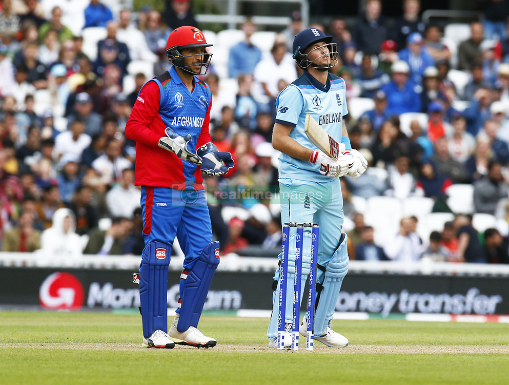 May 27, 2019 - London, England, United Kingdom - L-R Rahmat Shah of Afghanistan and Joe Root of England.during ICC Cricket World Cup - Warm - Up between England and Afghanistan at the Oval Stadium , London,  on 27 May 2019. (Credit Image: © Action Foto Sport/NurPhoto via ZUMA Press)