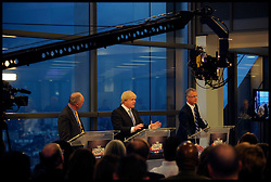 L to R Ken Livingstone, Boris Johnson, Brian Paddock during the Sky News London Mayor Debate in the City of London,  London, UK, April 19, 2012. Photo By Andrew Parsons / i-Images.