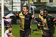 GOAL Marine forward Niall Cummins (9) celebrates after scoring the winner 1-0 during the The FA Cup match between Marine and Havant & Waterlooville FC at Marine Travel Arena, Great Crosby, United Kingdom on 29 November 2020.
