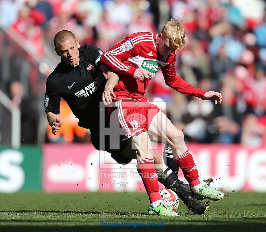 Picture by Paul Gaythorpe/Focus Images Ltd +447771 871632.27/04/2013.Michael Morrison of Charlton Athletic and Luke Williams of Middlesbrough during the npower Championship match at the Riverside Stadium, Middlesbrough.