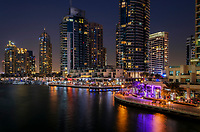 UNITED ARAB EMIRATES, DUBAI - CIRCA JANUARY 2017: Dubai Marina and skyscrapers at night.