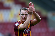 Bradford City defender Anthony McMahon (29) applauds the fans during the EFL Sky Bet League 1 match between Bradford City and Doncaster Rovers at the Northern Commercials Stadium, Bradford, England on 30 September 2017. Photo by Simon Davies.
