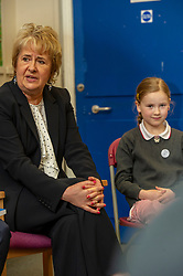 Pictured: Roseanna Cunningham<br /><br />Climate Change Secretary Roseanna Cunningham visited Abbeyhill Primary School today to discuss with schoolchildren the role Scotland can play in safeguarding the planet as she responds to UK Climate Change Committee recommendations.  She was joined by Professor Keithn Bell, UK Climate Change Committee Scottish Champion as she answered questions from students aged between 7 and 11.   Ger Harley | EEm 2 May 2019