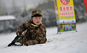 NANJING, CHINA - FEBRUARY 01: (CHINA OUT) <br /> <br /> Topless children are in training on the snowy playground on February 1, 2016 in Nanjing, Jiangsu Province of China. 3 girls and 11 boys, from 3 to 12 years old, got trained in the wintry cold in Nanjing.<br /> ©Exclusivepix Media