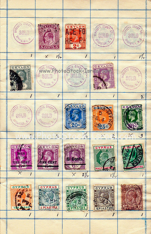 A collection of old stamps from Ceylon and Cyprus Philately is the study of postage stamps and postal history.