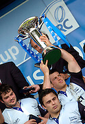 2005 European Challenge Cup Final Sale Sharks v Pau, ENGLAND, 21.05.2005, Andy Titterall hold the trophy aloft.<br /> Photo  Peter Spurrier. <br /> email images@intersport-images