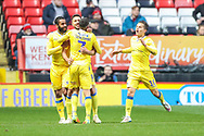 Bristol Rovers defender Joe Martin (29) celebrates with teammates after scoring a goal taking the score to 1-1 during the EFL Sky Bet League 1 match between Charlton Athletic and Bristol Rovers at The Valley, London, England on 24 November 2018.