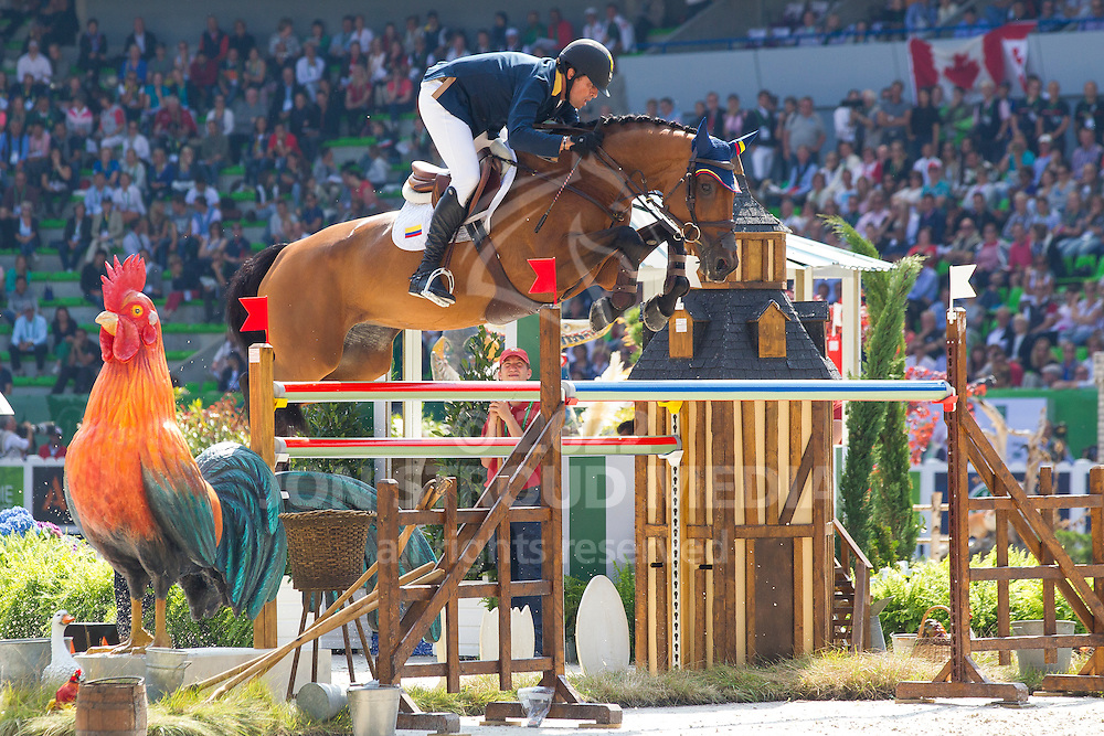 Roberto Teran Tafur, (COL), Woklahoma - First Round Team Competition Jumping Speed - Alltech FEI World Equestrian Games™ 2014 - Normandy, France.<br /> © Hippo Foto Team - Leanjo De Koster<br /> 03-09-14