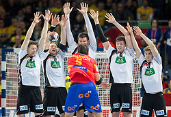 Jorge Maqueda of Spain hit Steffen Weinhold of Germany in the face and got red card during handball match between National teams of Spain and Germany on Day 2 in Preliminary Round of Men's EHF EURO 2016, on January 15, 2016 in Centennial Hall, Wroclaw, Poland. Photo by Vid Ponikvar / Sportida
