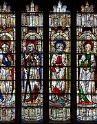 Sixteenth century stained glass windows inside church of Saint Mary, Fairford, Gloucestershire, England, UK window 10 Saints Peter, Andrew, James, John
