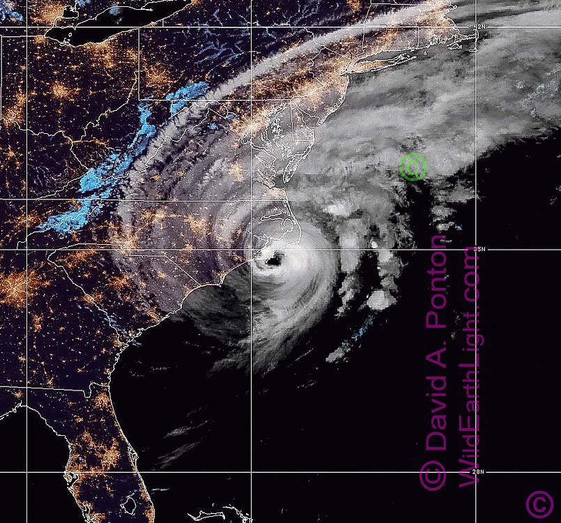 NOAA GEOS Public Domain satellite image of Hurricane Dorian along the SE USA coastline, night time early Sept. 6, 2019, enhancement and preparation by David A. Ponton, 2019