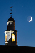 Goshen, New York - The crescent moon shines behind the C.J. Hooker Middle School cupola on Sept. 15, 2015.