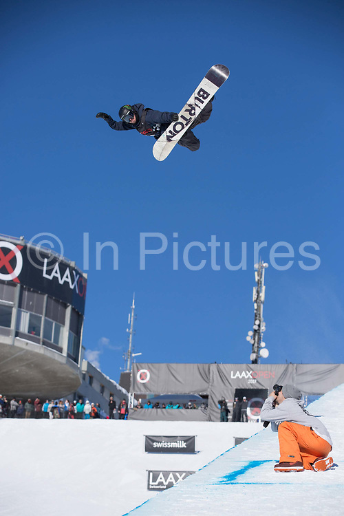 Swiss pro snowboarder Christian Hallers huge Method during the 2017 Laax Open halfpipe competition on 19th January 2017 in Laax, Switzerland. The Laax Open is a FIS Snowboarding World Championship competition in Laax ski resort.