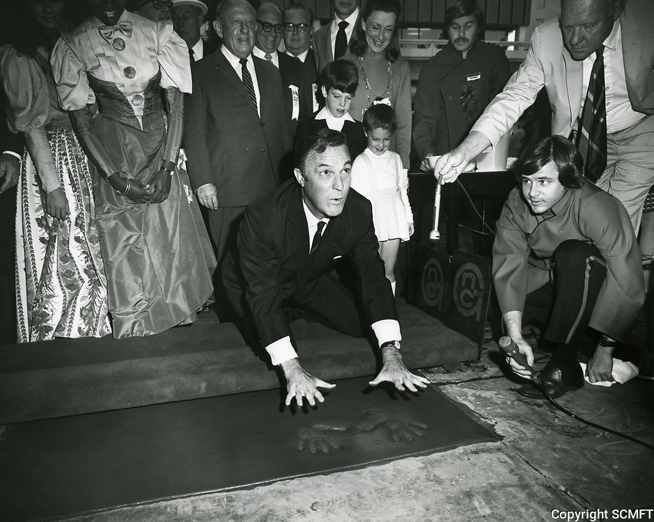 1969 Gene Kelly's hand/footprint ceremony at Grauman's Chinese Theater