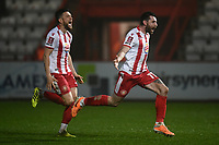 Football - 2020 / 2021 Emirates FA Cup - Round 2 - Stevenage vs Hull City - Lamex Stadium<br /> <br /> Stevenage's Danny Newton and Stevenage's Ben Coker run towards Stevenage's goalkeeper Jamie Cumming to celebrate after winning in a sudden death penalty shoot out.<br /> <br /> COLORSPORT/ASHLEY WESTERN
