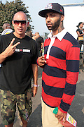 3 September 2011- New York, NY- l to r: Chang Weisberg, Founder, Rock the Bells and Rapper Joe Budden backstage at the 11th Annual Rock The Bells Concert Series held on Governors Island on September 3, 2011 in New York City. Photo Credit: Terrence Jennings