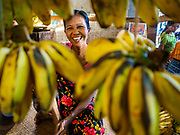 21 NOVEMBER 2017 - PANTANAW, AYEYARWADY REGION, MYANMAR: A banana vender in the market in Pantanaw, a town near Pathien in the Ayeyarwady delta.    PHOTO BY JACK KURTZ