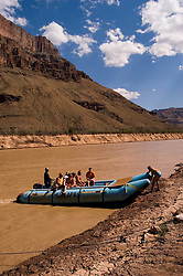 Scenic, Grand Canyon, Day Rafting trip on the Colorado River, Arizona, AZ, mooring, cliffs, landscape, vertical, arid, erosion, cracked earth, nature, muddy water, no model release, Image nv460-18554.Photo copyright: Lee Foster, www.fostertravel.com, lee@fostertravel.com, 510-549-2202