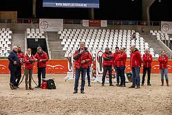 Voorzitter BWP, Jozef Bauters, bedankt alle medewerkers en vrijwilliger voor hun inzet/<br /> BWP hengstenkeuring 3de phase<br /> Oudsbergen 2020<br /> © Hippo Foto - Dirk Caremans