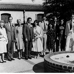 HS385     George W. Bush and Laura Welch's wedding. (right to left)  Marvin, Dorothy, Neil, Columba, Jeb, Laura, George W., Barbara, George H, and Dorothy Walker Bush, 05 Nov 77.<br /> Photo Credit:  George Bush Presidential Library