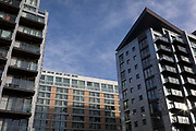Flats and apartments at the large Chelsea Bridge Wharf development on Queenstown Road, near Battersea Power Station, on 22 January 2018, in south London, England.