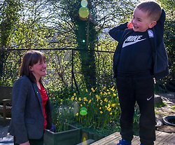 Pictured: Maree Todd enjoyed the children enjoying themselves in the sun<br /> <br /> Minister for Childcare and Early Years Maree Todd and Councillor Gail Macgregor  visited Cameron House nursery school in Edinburgh today to see the Early Learning Childcare (ELC) provision in action<br /> <br /> Ger Harley | EEm 1 May 2018