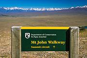 Trail sign on the summit of Mt. John, Lake Tekapo, Canterbury, South Island, New Zealand