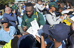 Cape Town 09082018-Springbok Beast Mtawarira and his teammates signed autographs to the delight of youngsters who attended the Springboks training at Belhar rugby club today .Pic Noor Slamdien