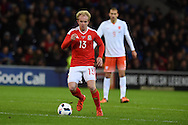 Jonathan Williams of Wales in action. Vauxhall International football friendly, Wales v The Netherlands at the Cardiff city stadium in Cardiff, South Wales on Friday 13th November 2015. pic by Andrew Orchard, Andrew Orchard sports photography.