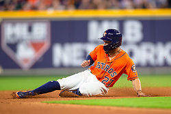 April 13, 2018 - Houston, TX, U.S. - HOUSTON, TX - APRIL 13: Houston Astros second baseman Jose Altuve (27) steals second base in the seventh inning during an MLB game between the Houston Astros and the Texas Rangers and April 13, 2018 at Minute Maid Park in Houston, TX.  (Photo by Juan DeLeon/Icon Sportswire) (Credit Image: © Juan Deleon/Icon SMI via ZUMA Press)