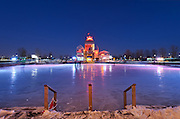 Picture of ice skating rink and terrasses bonsecours at the blue hour in winter, viewed from Rue Saint-Paul, Old Montreal, Old Port, Quebec, Canada