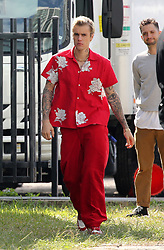 Justin Bieber wears a colorful Miami Heat jersey as he shows off his hockey skills on set of his music video shoot in Miami. 27 Feb 2020 Pictured: Justin Bieber. Photo credit: MEGA TheMegaAgency.com +1 888 505 6342