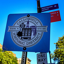 Reading, PA, USA - September 19, 2020: Assign marking the historic district in downtown Reading, Berks County, PA.