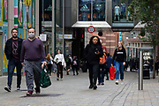 People, some with shopping bags, out and about in the city centre on 4th September, 2021 in Leeds, United Kingdom. Despite a rise in footfall across the UKs high streets, new data has shown more than 8,700 chain stores have closed permanently, with the Covid-19 pandemic seeing consumer habits shifting in favour of shopping online or locally.