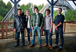 17 October 2013. Abandoned Six Flags, New Orleans, Louisiana. <br /> Terry McDermott and the Bonfires. <br /> L/R; Eric Bolivar, Alex Smith, Terry McDermott, Richard Hyland and Dave Rosser.<br /> Photo; Charlie Varley