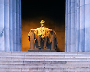 Marble statue of Abraham Lincoln, Lincoln Memorial, Washington, District of Columbia.