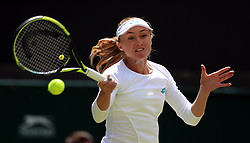 Aliaksandra Sasnovich in action on day one of the Wimbledon Championships at the All England Lawn Tennis and Croquet Club, Wimbledon.