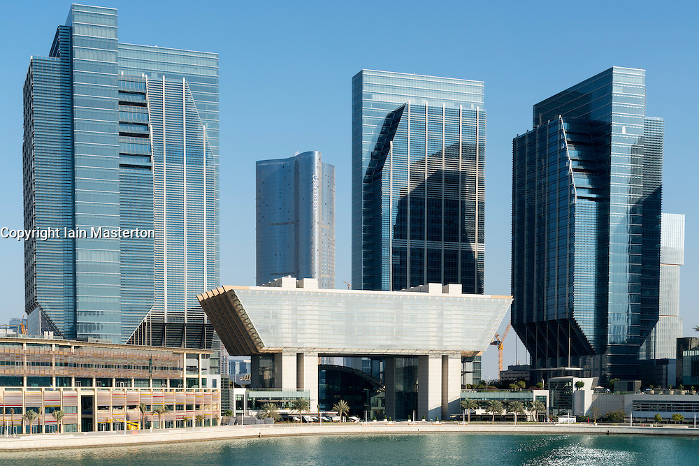 View of new business district at Abu Dhabi Global Market square (ADGM) formerly Sowwah Square on Al Maryah Island in Abu Dhabi United Arab Emirates