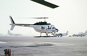 Oil industry in Ras Tanura area, Saudi Arabia, helicopter Bell 206 JetRanger, 1979 PHI Inc. helicopter services companies.