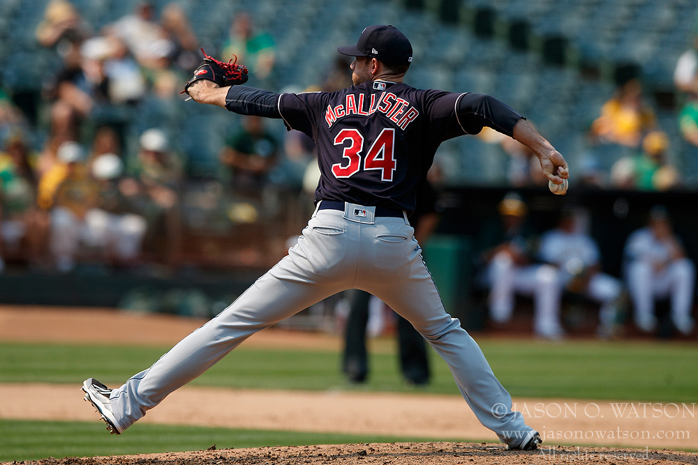 OAKLAND, CA - JULY 01: Zach McAllister #34 of the Cleveland Indians pitches against the Oakland Athletics during the eighth inning at the Oakland Coliseum on July 1, 2018 in Oakland, California. The Cleveland Indians defeated the Oakland Athletics 15-3. (Photo by Jason O. Watson/Getty Images) *** Local Caption *** Zach McAllister