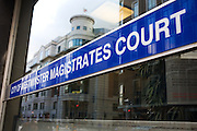 City of Westminster Magistrates Court sign, London.