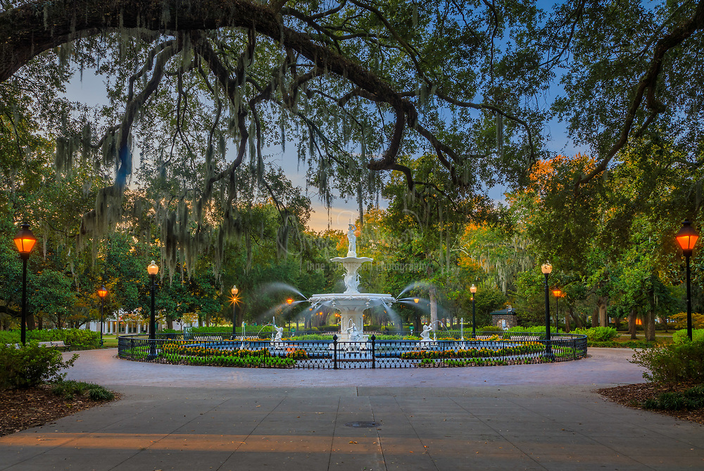 Forsyth Park is a large city park that occupies 30 acres in the historic district of Savannah, Georgia. The park is bordered by Gaston Street on the North, Drayton Street on the East, Park Avenue on the South and Whitaker Street on the West. It contains walking paths, a children's play area, a Fragrant Garden for the blind, a large fountain, tennis courts, basketball courts, areas for soccer and Frisbee, and home field for Savannah Shamrocks Rugby Club. From time to time, there are concerts held at Forsyth to the benefit of the public.<br /> <br /> The fountain at the north end of the park was added in 1858 and is reminiscent of fountains in the Place de la Concorde in Paris and in Cuzco, Peru. At this time, Parisian urban planning was centered on the development of residential neighborhoods radiating out from a central green space. The Parisian model of developing large city parks was emulated by large cities in the United States, with even smaller cities, such as Savannah, asserting their own cosmopolitan image.