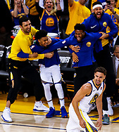 Golden State Warriors' Klay Thompson reacts after scoring a three-pointer during the second quarter of a game against the New Orleans Pelicans at Oracle Arena in Oakland, Calif., Saturday, April 28, 2018. (Joel Angel Juárez / SFBay)